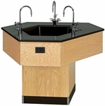 Trifacial Wooden Science Workstation with 1'' Thick Black Epoxy Resin Top and 3 Faucet Sink - 49''W x 56.5''D x 36''H [1536K-DW]