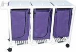 Triple Bag Hamper with Mesh Bag and Casters - 18.750''W X 55''D X 38.5''H [214-T-MJM]
