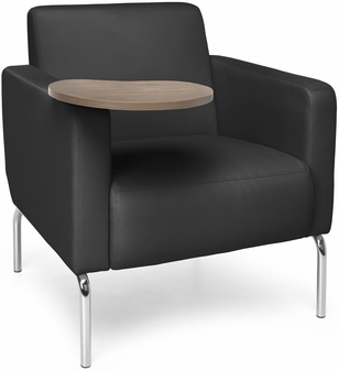 Triumph Lounge Chair With Tablet And Vinyl Seat With Chrome Feet Black Seat