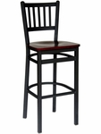 Troy Metal Slat Back Barstool - Black Wood Seat [2090BBLW-SB-BFMS]