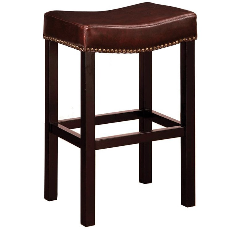 Tudor 26 39 39 h bonded leather backless counter stool with nailhead trim brown lcmbs013babc26 by - Leather bar stools with nailhead trim ...