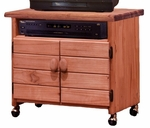 Rustic Style 30''W x 16''D Solid Pine TV Cart - Mahogany Stain [31710-FS-CHEL]