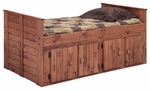 Rustic Style Solid Pine Panel Bed with 4 Door Underbed Storage - Twin - Mahogany Stain [31942-F-FS-CHEL]