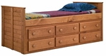 Rustic Style Solid Pine Panel Bed with Underbed Storage - Twin - Mahogany Stain [31942-FS-CHEL]