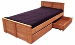 Rustic Style Solid Pine Bed with Storage - Twin - Mahogany Stain [31350-211-FS-CHEL]