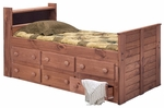 Rustic Style Solid Pine Captain's Bed with Bookcase - Twin - Mahogany Stain [31346-FS-CHEL]