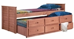 Rustic Style Solid Pine Captain's Bed with Trundle - Twin - Mahogany Stain [31375-FS-CHEL]