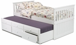 Contemporary Style Mission Bed with Trundle and Storage - Twin - White [366500-FS-CHEL]