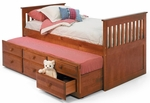 Rustic Style Solid Pine Mission Bed with Trundle - Twin - Honey [366000-FS-CHEL]