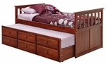 Rustic Style Solid Pine Mission Style Captain's Bed with Trundle - Twin - Dark [366700-FS-CHEL]