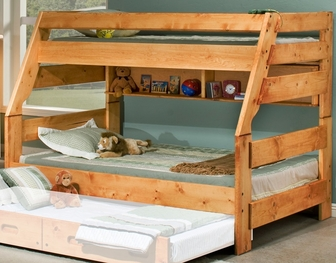 Rustic Style Solid Pine Bunk Bed Twin Over Full Cinnamon