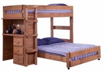 Rustic Style Solid Pine Loft Bed with Desk End - Twin Over Full - Mahogany Stain [315020-FS-CHEL]