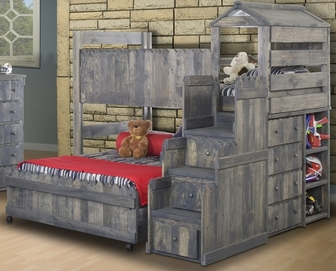 Rustic Style Solid Pine Loft Bed with Stairway Chest - Twin Over ...