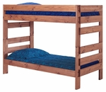 Rustic Style Solid Pine Stackable Bunk Bed - Twin Over Twin - Mahogany Stain [312002-FS-CHEL]