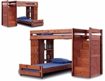 Rustic Style Solid Pine Staircase Bunk Bed with 5 Drawer Chest - Twin Over Twin - Mahogany Stain [31345-FS-CHEL]