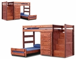 Rustic Style Solid Pine Staircase Quarters Bed with 5 Drawer Chest - Twin Over Twin - Mahogany Stain [31234-FS-CHEL]