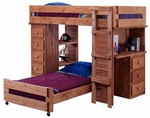 Rustic Style Solid Pine Student Loft Bed with Desk and Chest Ends - Twin Over Twin - Mahogany Stain [315015-FS-CHEL]