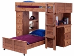 Rustic Style Solid Pine Student Loft Panel Bed with Desk and Chest Ends - Twin Over Twin - Mahogany Stain [315040-FS-CHEL]