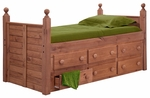 Rustic Style Solid Pine Panel Post Bed with 6 Drawers - Twin - Mahogany Stain [31950-FS-CHEL]