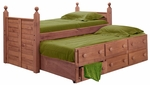 Rustic Style Solid Pine Panel Post Bed with Trundle - Twin - Mahogany Stain [31950-T-FS-CHEL]