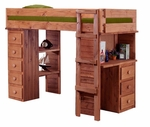 Rustic Style Solid Pine Student Loft Bed with Desk and Chest Ends - Twin - Mahogany Stain [315025-FS-CHEL]