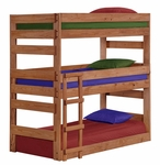 Rustic Style Solid Pine Triple Bunk Bed - Twin - Mahogany Stain [312500-FS-CHEL]