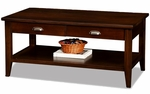 Laurent Collection 44''W x 20''H Solid Wood Coffee Table with Two Drawers and Display Shelf - Chocolate Cherry [10504-FS-LCK]