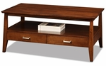 Delton Collection 44''W x 20''H Solid Wood Coffee Table with Two Drawers and Display Shelf - Sienna [10404-FS-LCK]