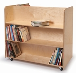 Two Sided Birch Laminate Mobile Library Cart with Lockable Heavy Duty Casters [WB1037-FS-WBR]