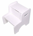 Kids Size Sturdy Hardwood Wide Two Step Stool with Built-in Handles - White [15501-FS-KK]