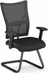 Talisto Executive Mid-Back Leather and Mesh Guest Chair -Black [595-L-BLACK-FS-MFO]