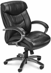 Ultimo 200 Series Mid Back Task Chair - Black Leather with Gunmetal Gray Frame [UL230MBLK-FS-MAY]