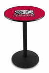 University of Alabama 36''H Black Wrinkle Finish Counter Height Pub Table with Round Base [L214B36AL-ELE-FS-HOB]