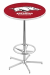 University of Arkansas 42''H Chrome Finish Bar Height Pub Table with Foot Ring [L216C42ARKNUN-FS-HOB]