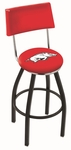 University of Arkansas 25'' Black Wrinkle Finish Swivel Counter Height Stool with Cushioned Back [L8B425ARKNUN-FS-HOB]