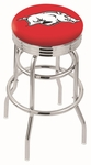 University of Arkansas 25'' Chrome Finish Double Ring Swivel Backless Counter Height Stool with Ribbed Accent Ring [L7C3C25ARKNUN-FS-HOB]