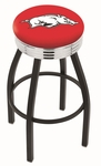 University of Arkansas 25'' Black Wrinkle Finish Swivel Backless Counter Height Stool with Ribbed Accent Ring [L8B3C25ARKNUN-FS-HOB]