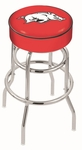 University of Arkansas 25'' Chrome Finish Double Ring Swivel Backless Counter Height Stool with 4'' Thick Seat [L7C125ARKNUN-FS-HOB]