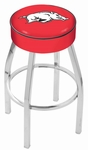 University of Arkansas 25'' Chrome Finish Swivel Backless Counter Height Stool with 4'' Thick Seat [L8C125ARKNUN-FS-HOB]