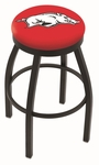 University of Arkansas 25'' Black Wrinkle Finish Swivel Backless Counter Height Stool with Accent Ring [L8B2B25ARKNUN-FS-HOB]