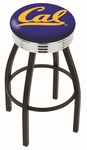 University of California Berkeley 25'' Black Wrinkle Finish Swivel Backless Counter Height Stool with Ribbed Accent Ring [L8B3C25CAL-UN-FS-HOB]
