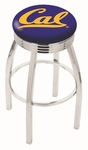 University of California Berkeley 25'' Chrome Finish Swivel Backless Counter Height Stool with 2.5'' Ribbed Accent Ring [L8C3C25CAL-UN-FS-HOB]