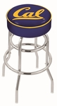 University of California Berkeley 25'' Chrome Finish Double Ring Swivel Backless Counter Height Stool with 4'' Thick Seat [L7C125CAL-UN-FS-HOB]