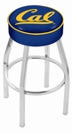 University of California Berkeley 25'' Chrome Finish Swivel Backless Counter Height Stool with 4'' Thick Seat [L8C125CAL-UN-FS-HOB]