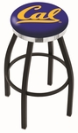 University of California Berkeley 25'' Black Wrinkle Finish Swivel Backless Counter Height Stool with Chrome Accent Ring [L8B2C25CAL-UN-FS-HOB]
