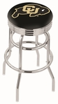 University of Colorado 25'' Chrome Finish Double Ring Swivel Backless Counter Height Stool with Ribbed Accent Ring [L7C3C25COLOUN-FS-HOB]