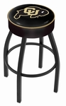 University of Colorado 25'' Black Wrinkle Finish Swivel Backless Counter Height Stool with 4'' Thick Seat [L8B125COLOUN-FS-HOB]