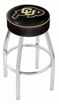 University of Colorado 25'' Chrome Finish Swivel Backless Counter Height Stool with 4'' Thick Seat [L8C125COLOUN-FS-HOB]
