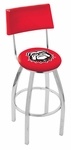 University of Georgia 25'' Chrome Finish Swivel Counter Height Stool with Cushioned Back [L8C425GA-DOG-FS-HOB]
