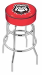 University of Georgia 25'' Chrome Finish Double Ring Swivel Backless Counter Height Stool with 4'' Thick Seat [L7C125GA-DOG-FS-HOB]